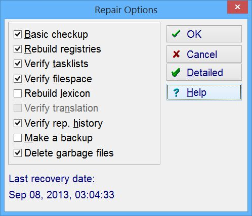 SuperMemo: The Repair Options dialog box displayed when you choose to perform the collection check-up and recovery