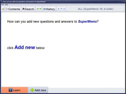 SuperMemo: Adding new questions and answers at the Beginner Level